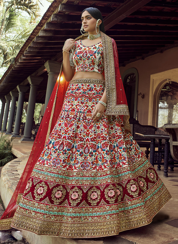 Arya Design Dial N Fashion Art Silk Off White Lehenga Choli