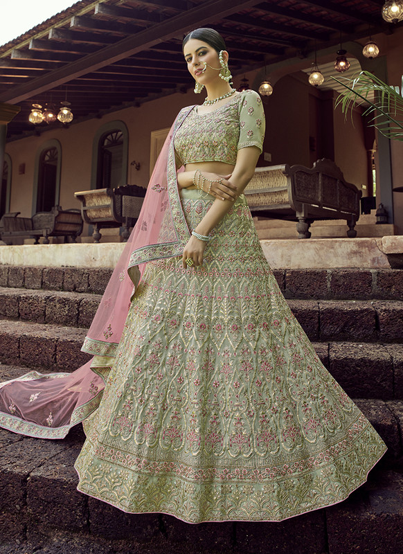 Arya Design Dial N Fashion Georgette Green Lehenga Choli