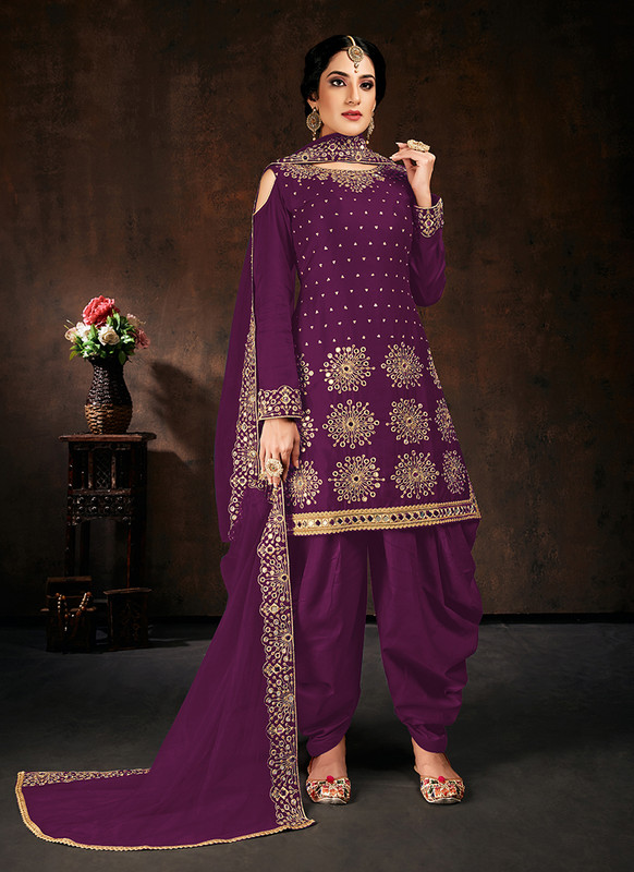 Purple Patiyala Punjabi Suit