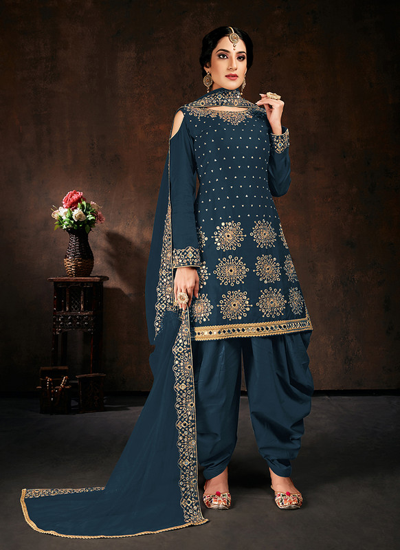 Blue Patiyala Punjabi Suit