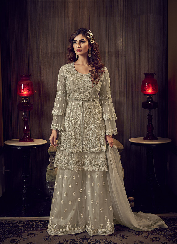 Designer Party Wear Grey Salwar Suit