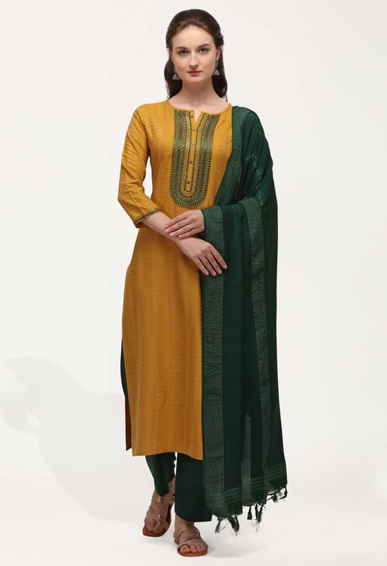 Geet Cotton Blend with Weaving & Embroidery Salwar Suit
