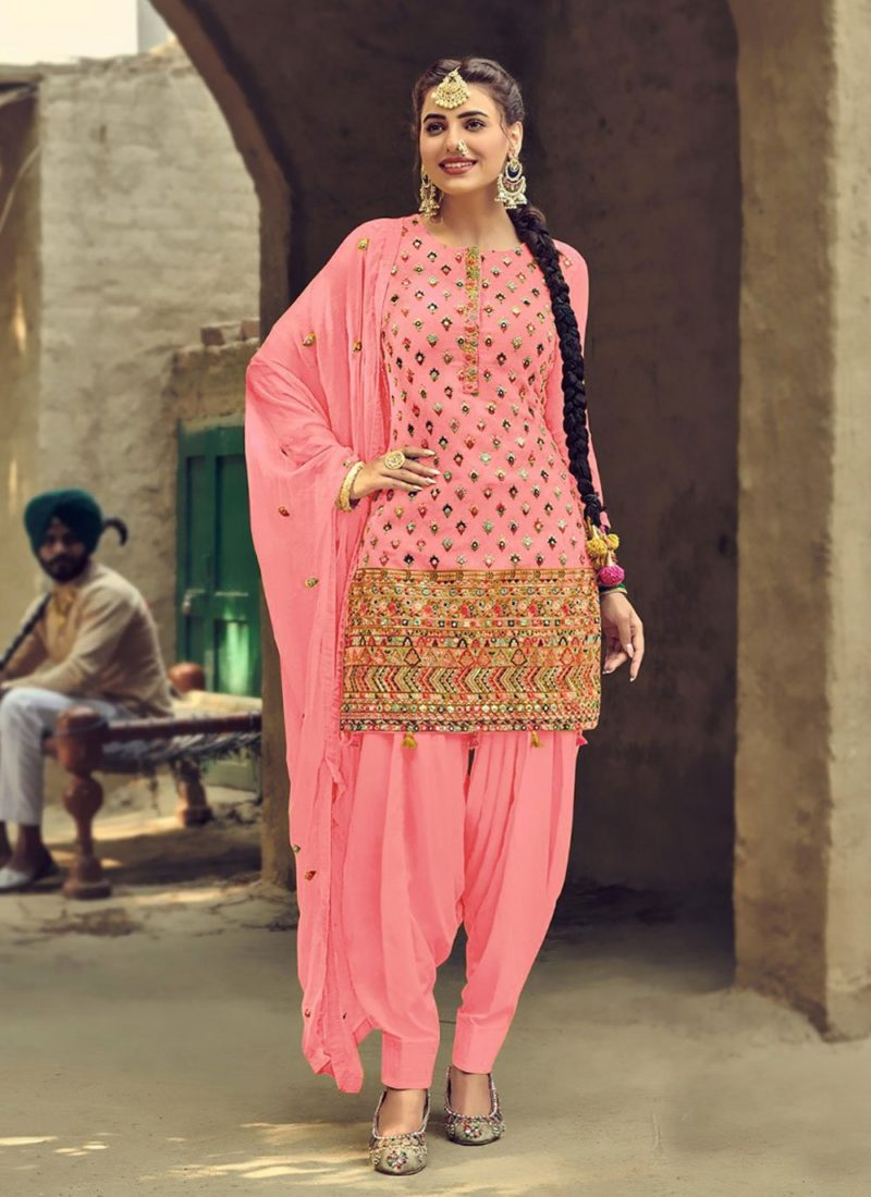 Designer Wear Faux Georgette Pink Patiyala Suit