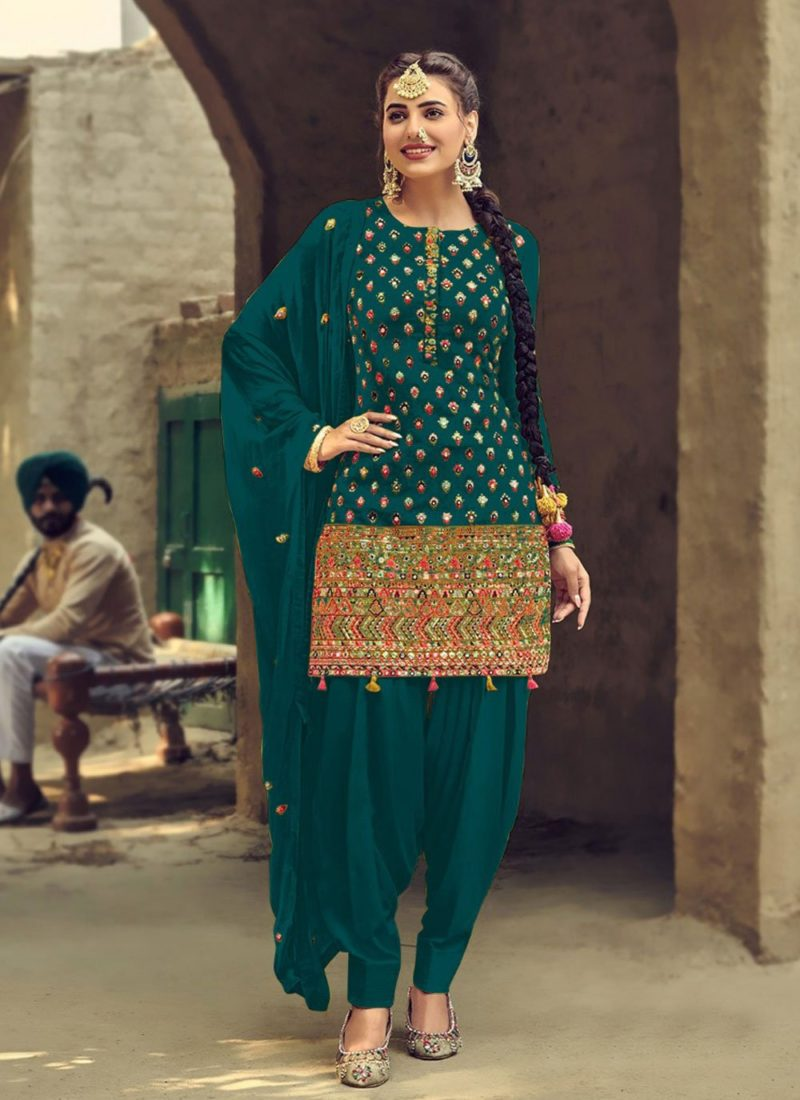 Designer Wear Faux Georgette Green Patiyala Suit