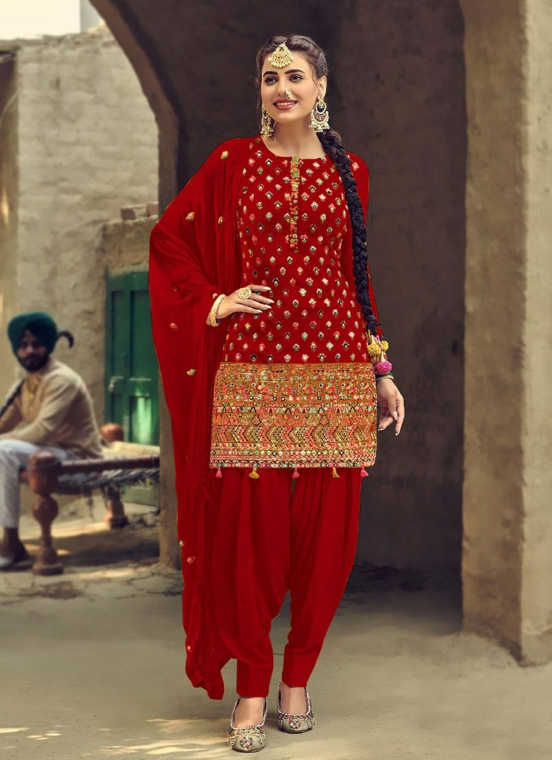 Designer Wear Faux Georgette Red Patiyala Suit