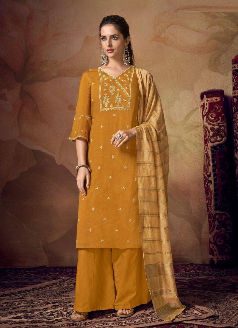 Muslin Embroidered Designer Palazzo Salwar Suit in Mustard