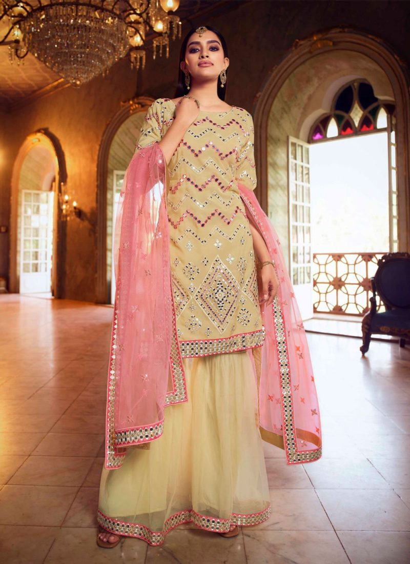 Net Designer Beige Color Pakistani Salwar Suit