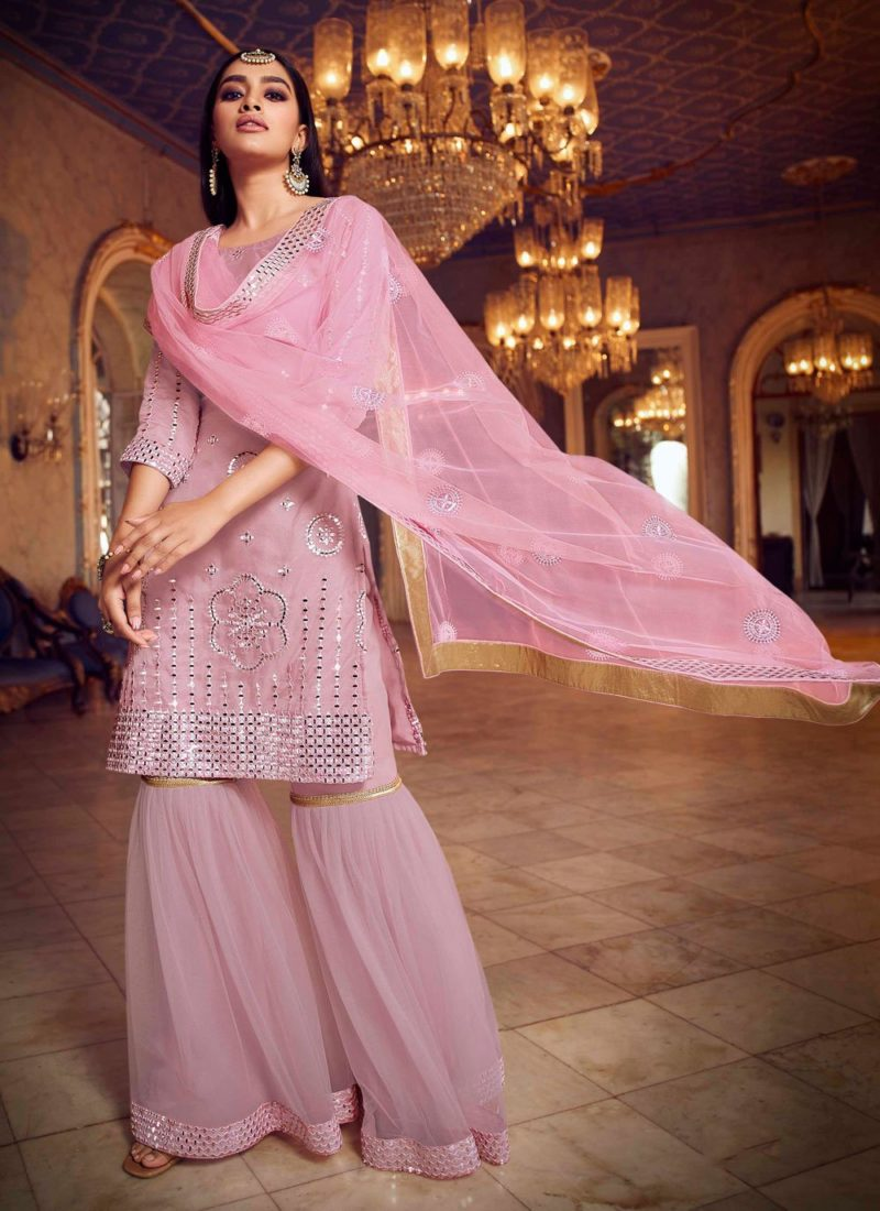 Net Designer Pink Color  Pakistani Suit