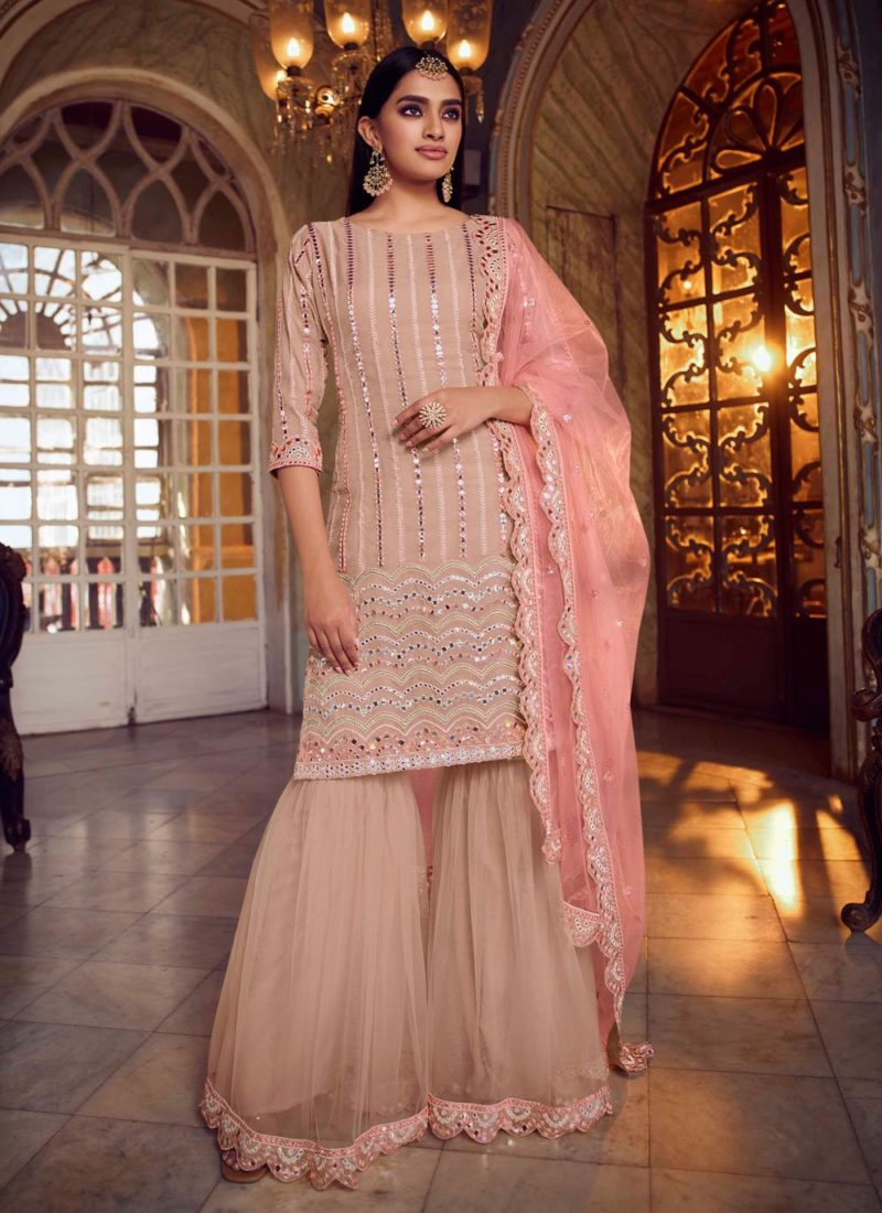 Net Mirror Designer Pakistani Suit in Peach Color