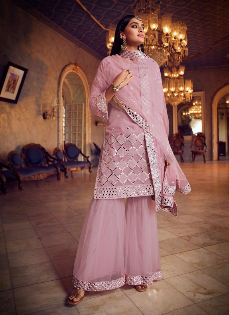 Net Pink Thread Designer Pakistani Salwar Suit