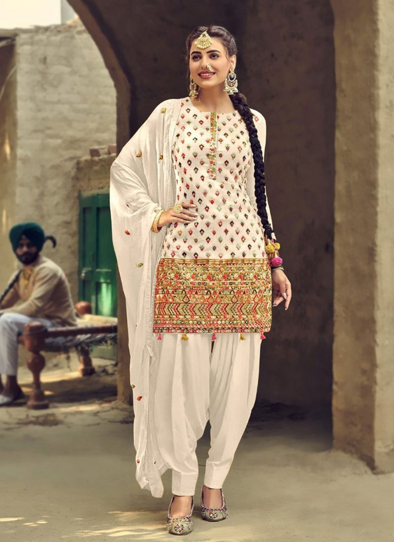 Designer Wear Faux Georgette White Patiyala Suit