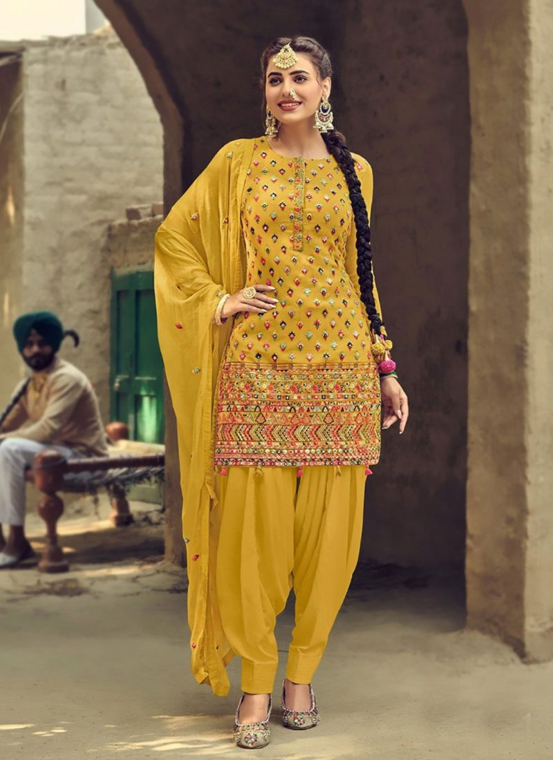 Designer Wear Faux Georgette Yellow Patiyala Suit