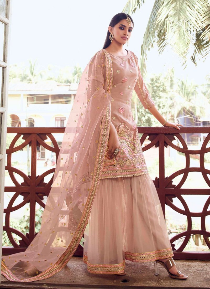 Thread Designer Peach Pakistani Salwar Suit